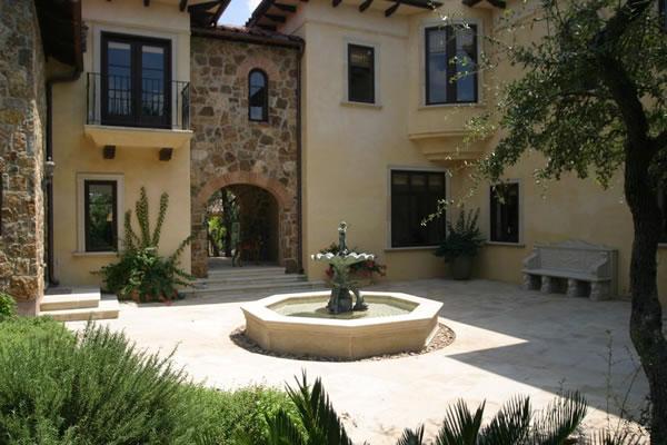 Courtyard fountain and herb garden