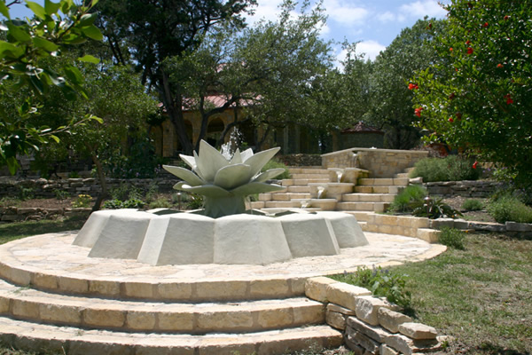 Custom made lotus flower fountain with cascading terraces